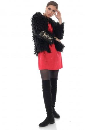 Shaggy short black jacket, Aimelia - JR492