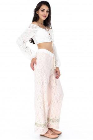 Super cream casual lace trouser - Aimelia  - TR279