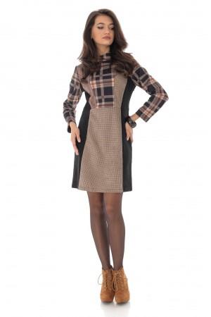 Midi checkered dress, with high collar, Aimelia - DR3998