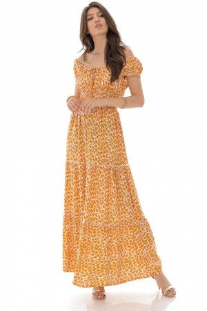 Vintage inspired maxi dress,Aimelia Dr4288, in Orange and Cream, with a shirred bodice.